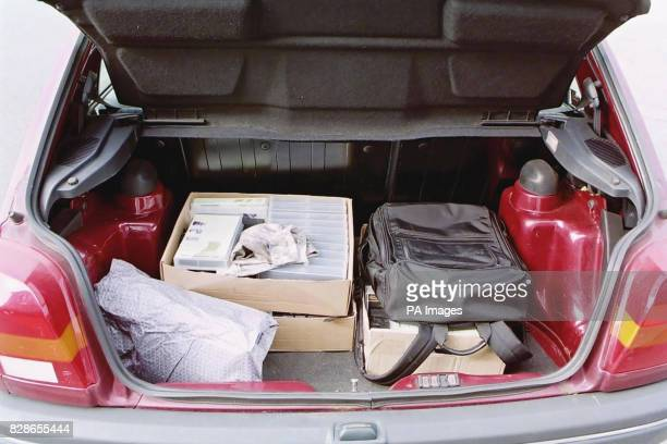 Leicestershire Police picture of the boot of a Ford Fiests used by illegal immigrants Brahim Benmerzouga and Baghdad Meziane who were jailed for 11...