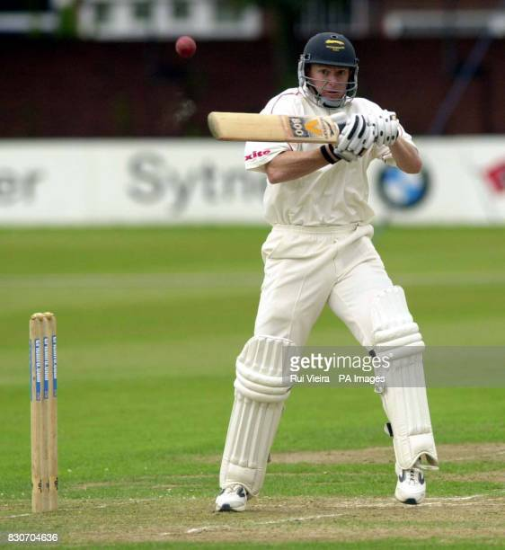 Leicestershire's Ben Smith cuts for six runs off Glamorgan's Simon Jones bowling during the Cricinfo County Championship match between Leicestershire...