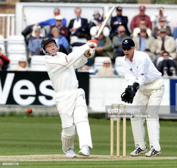 Leicestershire's Darren Maddy is out LBW from the bowling of James Brinkley as Durham's Wicket keeper Andy Pratt looks on during the Benson and...