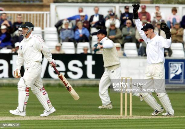 Leicestershire's Darren Maddy is out LBW from the bowling off Durham's James Brinkley while Wicketkeeper Andy Pratt looks on during the Benson and...