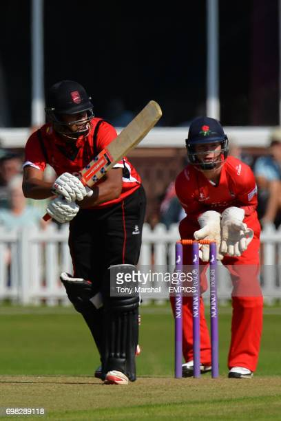 Leicestershire's Jigar Naik bats while Lancashire wicketkeeper Alex Davies watches the ball during the 2nd XI Trophy Final