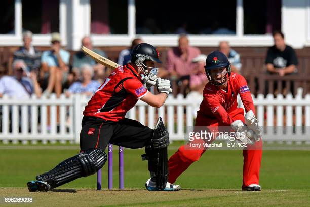 Leicestershire's Matthew Boyce and Lancashire wicketkeeper Alex Davies during the 2nd XI Trophy Final
