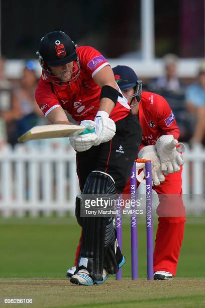 Leicestershire's Michael Thornely and Lancashire Wicketkeeper Alex Davies during the 2nd XI Trophy Final