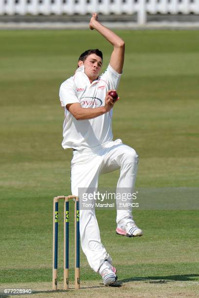 Leicestershire's Nathan Buck bowls against Surrey