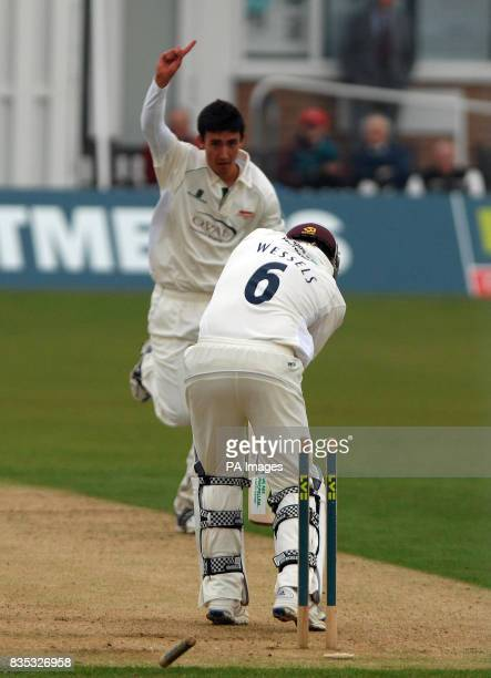 Leicestershire's Sam Cliff celebrates after bowling Northamptonshire's Riki Wessels during the County Championship Division One match at Grace Road...