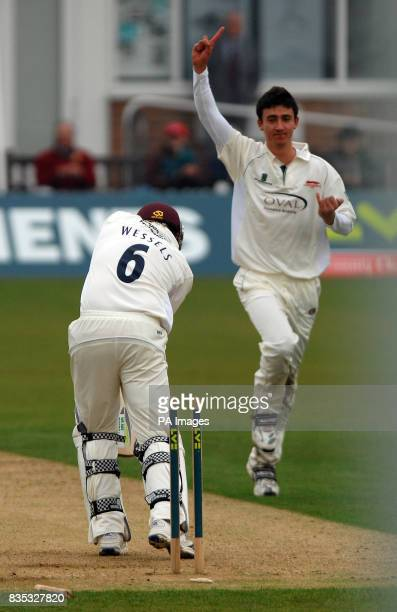 Leicestershire's Sam Cliff celebrates after he bowls Northamptonshire's Riki Wessels during the County Championship Division One match at Grace Road...