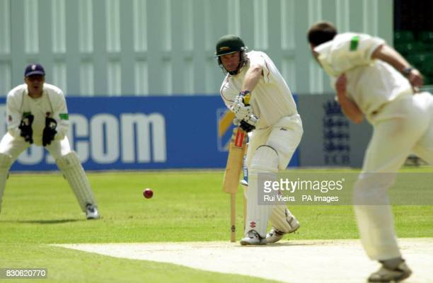 Leicestershire's Trevor Ward in action off Somerset's Steffan Jones during the County Championship match against Somerset at Grace Road Leicester