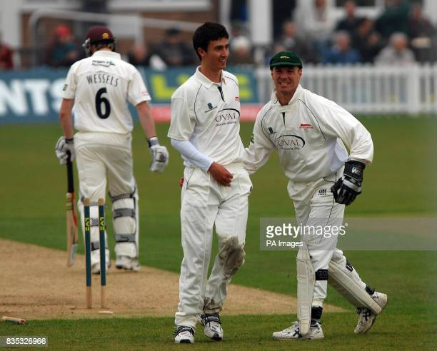 Leicestershire's wicketkeeper Paul Nixon congratulates Sam Cliff after bowling Northamptonshire's Riki Wessels during the County Championship...