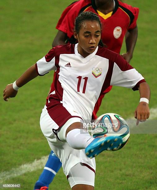 Leidy Delpino of Venezuela controls the ball during the 2014 Nanjing FIFA Summer Youth Olympic Girl's Football Tournament Preliminary Round Group A...
