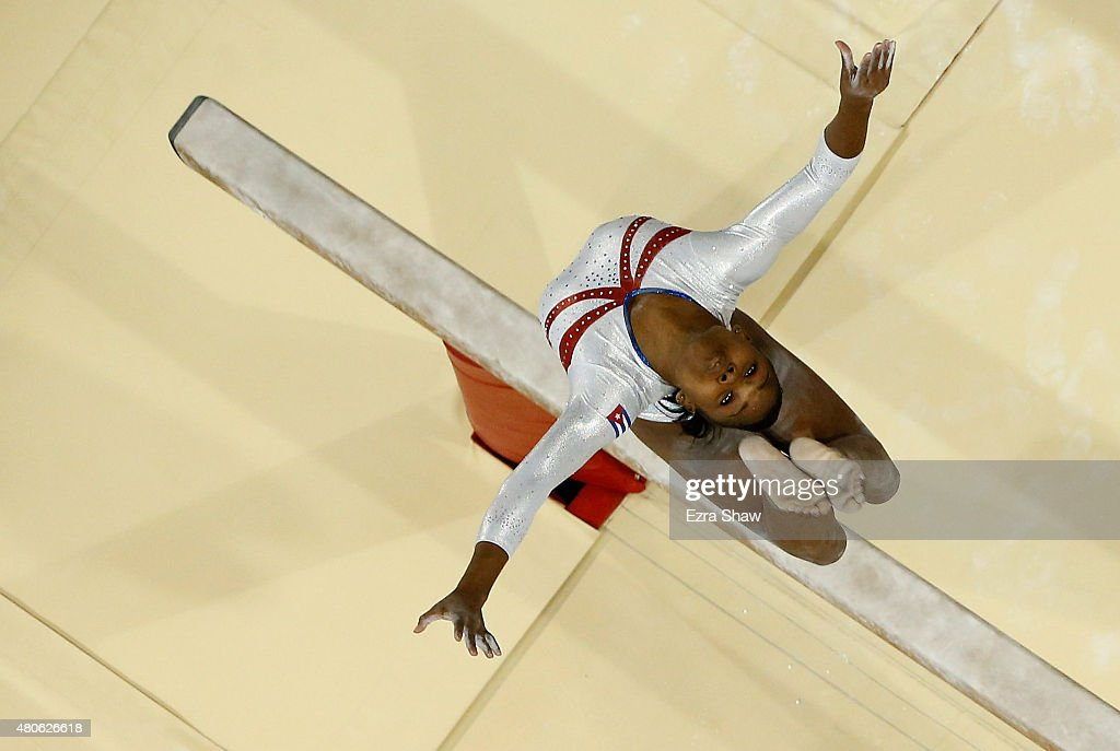Leidys Rojas of Cuba competes on the balance beam during the women's all around artistic gymnastics final on Day 3 of the Toronto 2015 Pan Am Games...