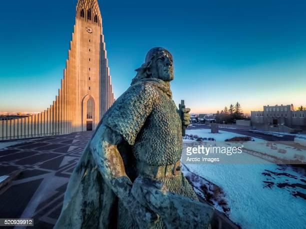 Leif Eriksson Statue and Hallgrimskirkja, Reykjavik, Iceland