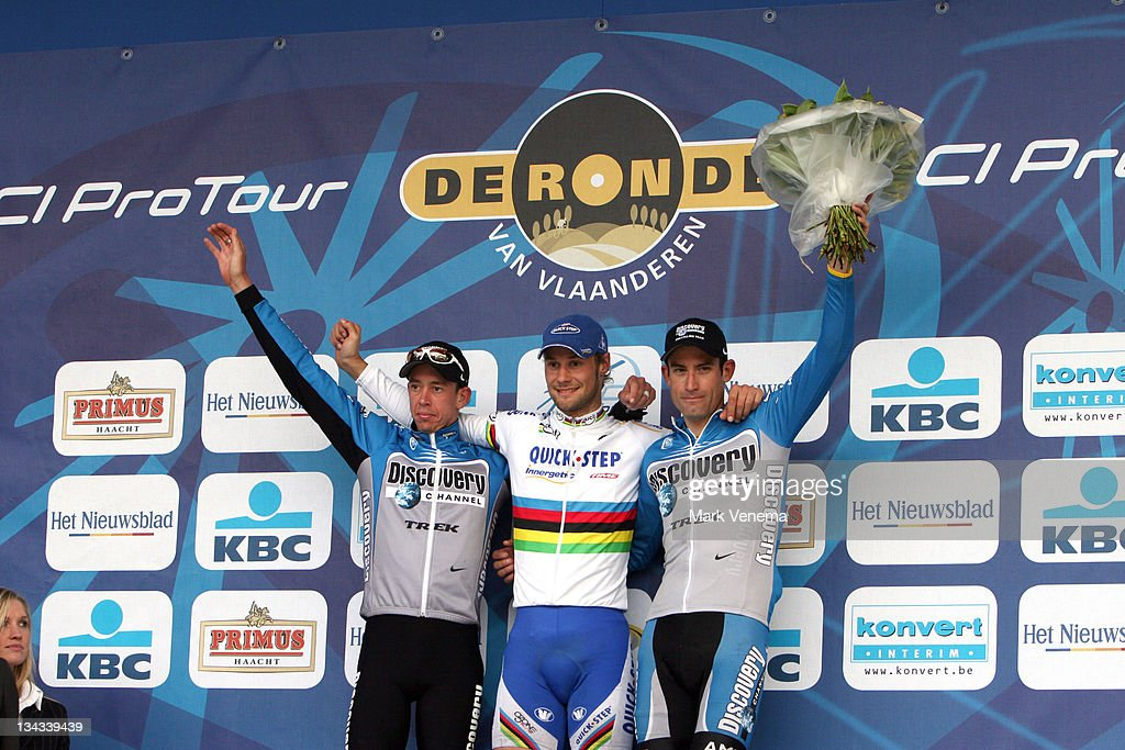 Leif Hoste (left, 2nd), Tom Boonen (middle, 1st) and George Hincapie (right, 3rd) at the winner ceremony after finishing the 90th edition of the Tour of Flanders in Belgium, April 2, 2006