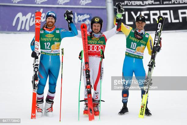 Leif Kristian Haugen of Norway takes 2nd place Marcel Hirscher of Austria takes 1st place Matts Olsson of Sweden takes 3rd place during the Audi FIS...
