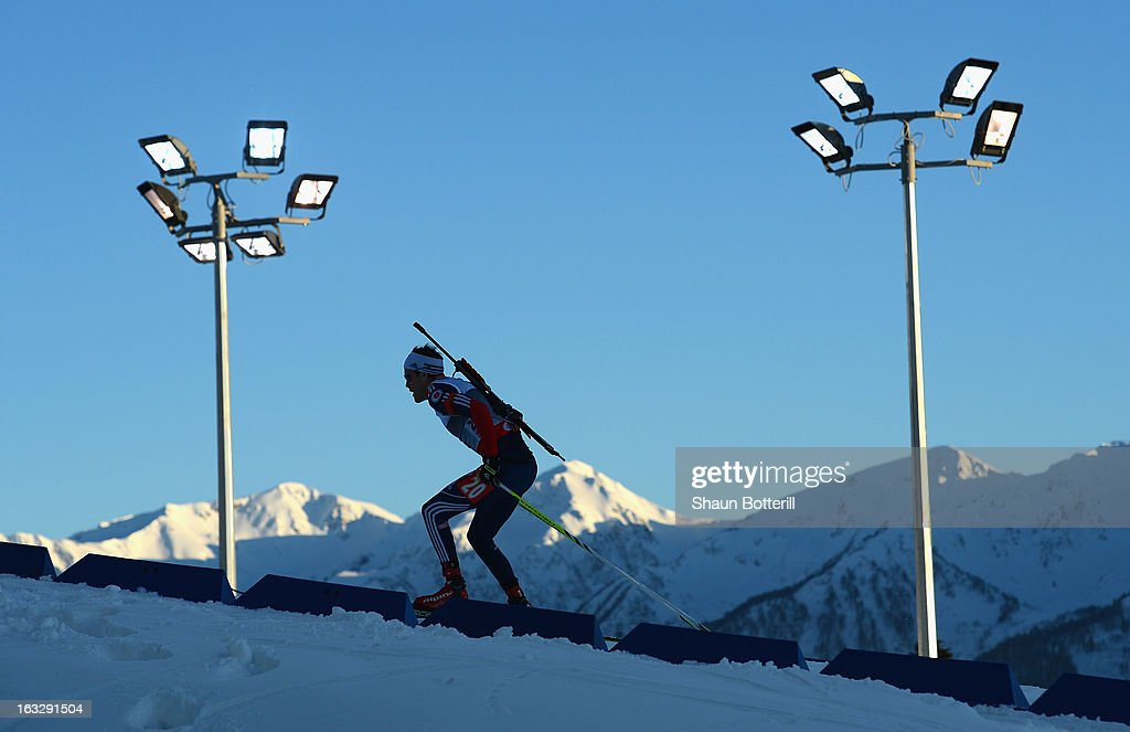 Leif Nordgren of USA competes in the Men's 20km Individual Event during the E. ON IBU Biathlon World Cup at the 'Laura' Biathlon & Ski Complex on March 7, 2013 in Sochi, Russia.