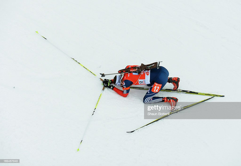 Leif Nordgren of USA is exhausted at the finish of the Men's 4 x 7.5 km Relay event at theBiathlon & Ski Complex on March 10, 2013 in Sochi, Russia.