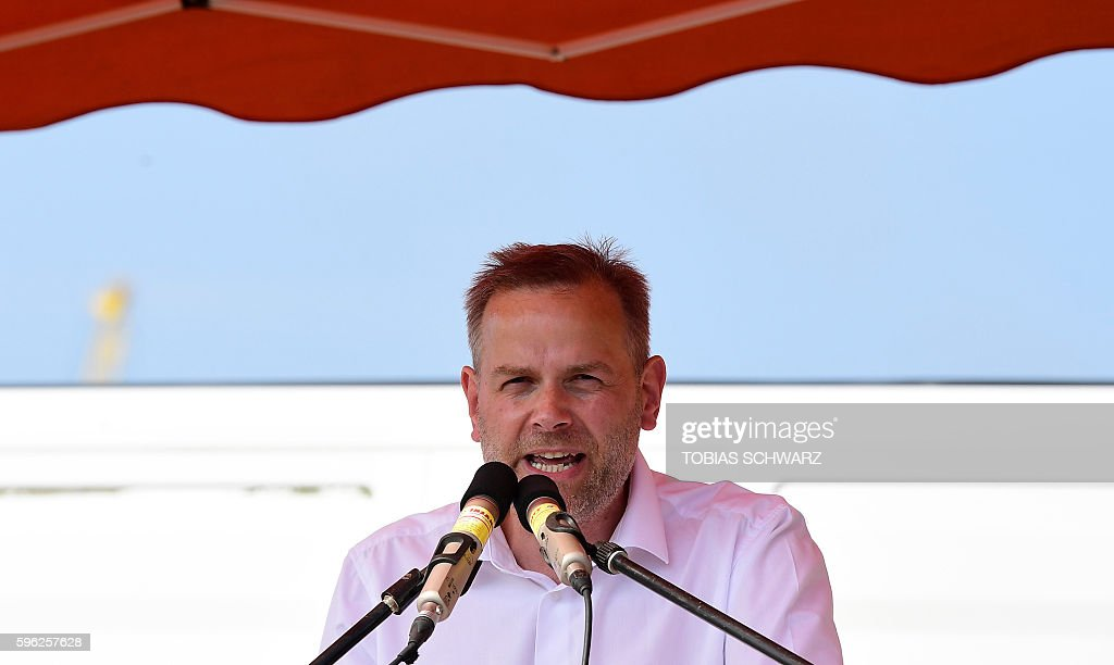 LeifErik Holm top candidate for regional elections of the Alternative for Germany party gives a speech during an election campaign event in Wismar...