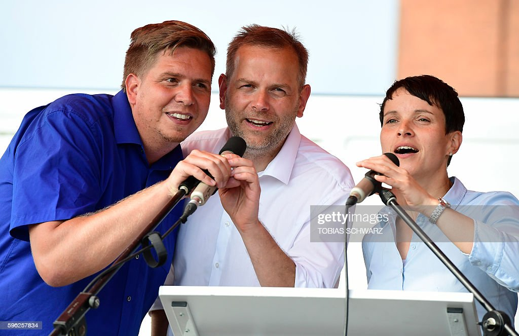 LeifErik Holm top candidate for regional elections of the Alternative for Germany party AfD party chairwoman Frauke Petry and AfD party member Lars...