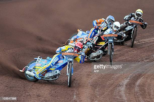 Leigh Adams of Britain Hans Andersen of Denmark Matej Zagar of Slovenia and Jaroslav Hampel of Poland compete during the the FIM Speedway Grand Prix...