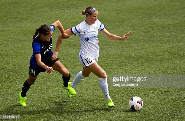 Leigh Ann Robinson of FC Kansas City keeps the ball away from Stephanie Cox of Seattle Reign FCin the second half of the National Women's Soccer...