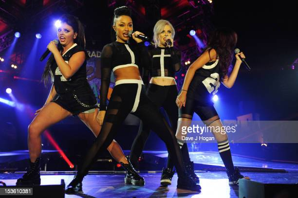 Leigh Anne Pinnock Perrie Edwards Jesy Nelson and Jade Thirlwall of Little Mix perform at the BBC Radio 1 Teen Awards 2012 at Wembley Arena on...