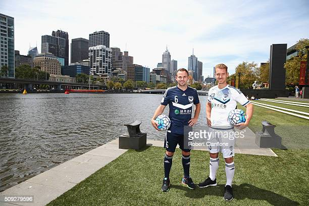 Leigh Broxham and Oliver Bozanic of the Melbourne Victory pose during the Melbourne Victory AFC Champions League Launch at Crown Entertainment...