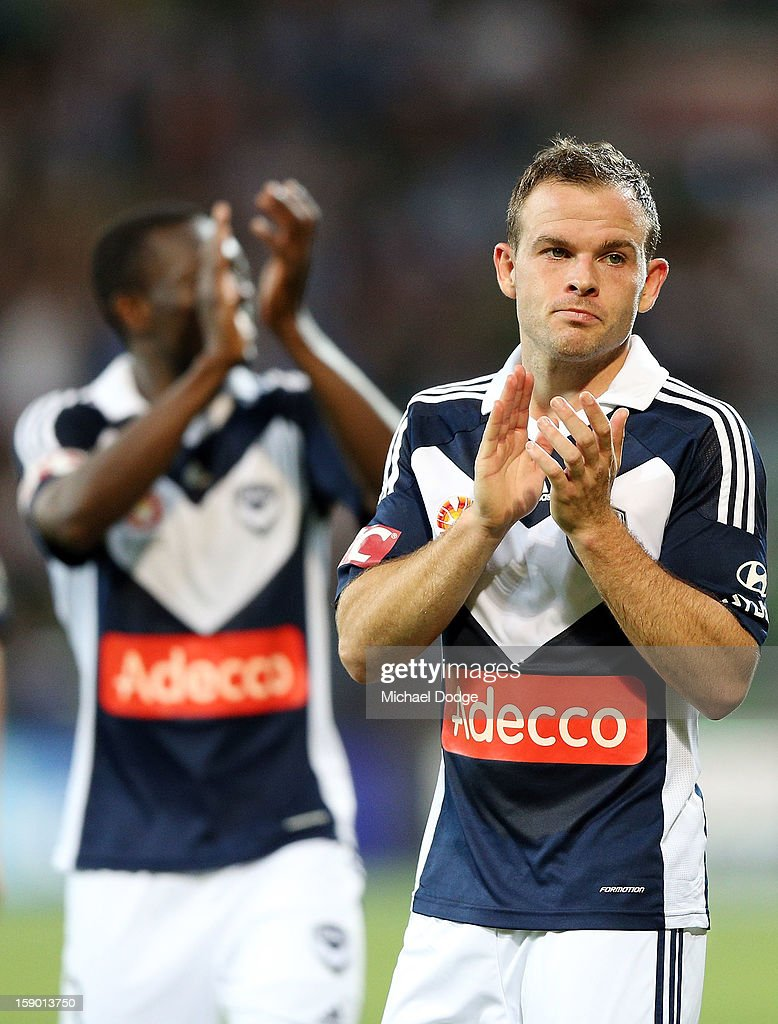 Leigh Broxham of the Melbourne Victory thanks the crowd after their win during the round 15 A-League match between the Melbourne Victory and Wellington Phoenix at AAMI Park on January 5, 2013 in Melbourne, Australia.