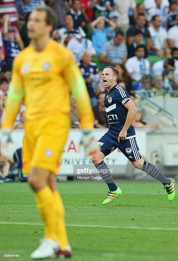 <a gi-track='captionPersonalityLinkClicked' href=/galleries/search?phrase=Leigh+Broxham&family=editorial&specificpeople=4103215 ng-click='$event.stopPropagation()'>Leigh Broxham</a> of the Victory celebrates a goal by Ben Khalfallah towards City fans during the round 19 A-League match between Melbourne City FC and Melbourne Victory at AAMI Park on February 13, 2016 in Melbourne, Australia.