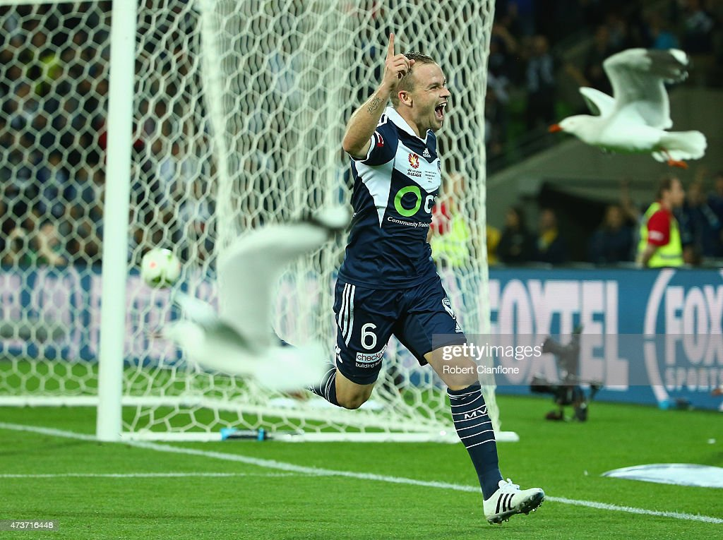 Leigh Broxham of the Victory celebrates after scoring a goal during the 2015 ALeague Grand Final match between the Melbourne Victory and Sydney FC at...