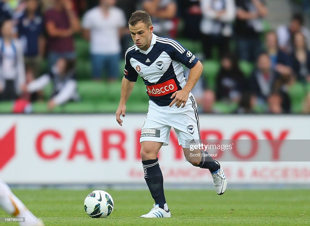 Leigh Broxham of the Victory controls the ball during the round 13 A-League match between the Melbourne Victory and the Newcastle Jets at AAMI Park on December 28, 2012 in Melbourne, Australia.