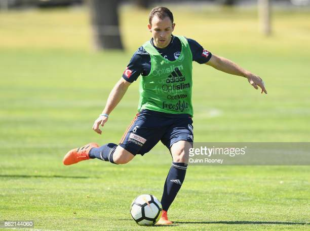 Leigh Broxham of the Victory passes the ball during a Melbourne Victory ALeague training session at Gosch's Paddock on October 17 2017 in Melbourne...