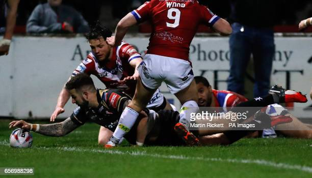 Leigh Centurions' Ben Crooks scores a try during the Betfred Super League match at Belle Vue Wakefield
