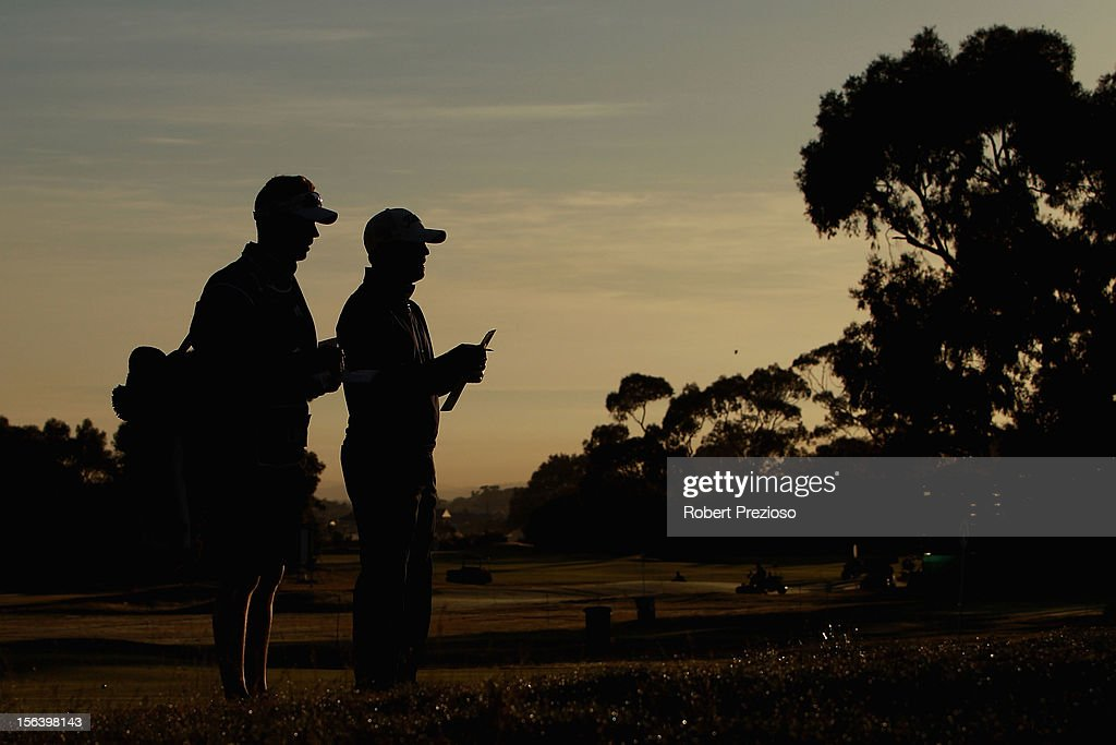 Leigh Deagan of Australia waits for his next shot on the 1st hole during day one of the Australian Masters at Kingston Heath Golf Club on November 15, 2012 in Melbourne, Australia.