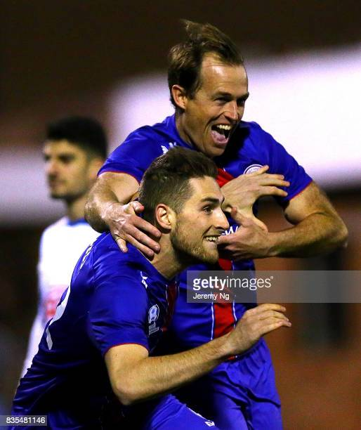 Leigh Egger of Manly United celebrates his goal during the NSW NPL 1 Elimination Final between Manly United FC and Sydney Olympic FC at Cromer Park...