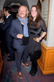 Leigh Francis and wife Jill Carter attend Ben Caring's birthday party at Annabel's on October 2 2012 in London England
