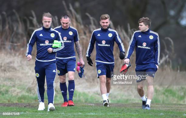 Leigh Griffith Scott Brown James Morrison and James Forrest are seen during a training session at Mar Hall on March 23 2017 in Erskine Scotland