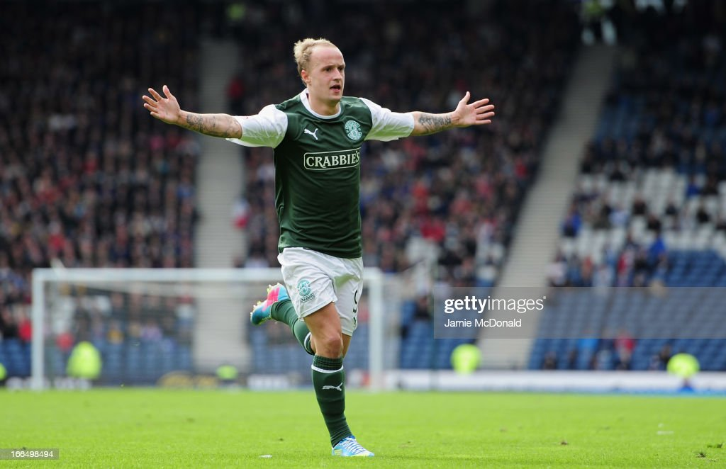 Leigh Griffiths celebrates the winning goal for Hibernian during The William Hill Scottish Cup Semi Final between Falkirk and Hibernian at Hampden Park on April 13, 2013 in Glasgow, United Kingdom.
