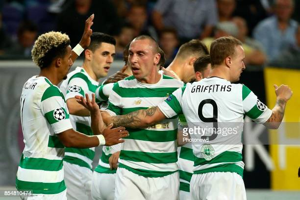 Leigh Griffiths forward of Celtic FC and Scott Brown midfielder of Celtic FC celebrates during the Champions League Group B match between RSC...
