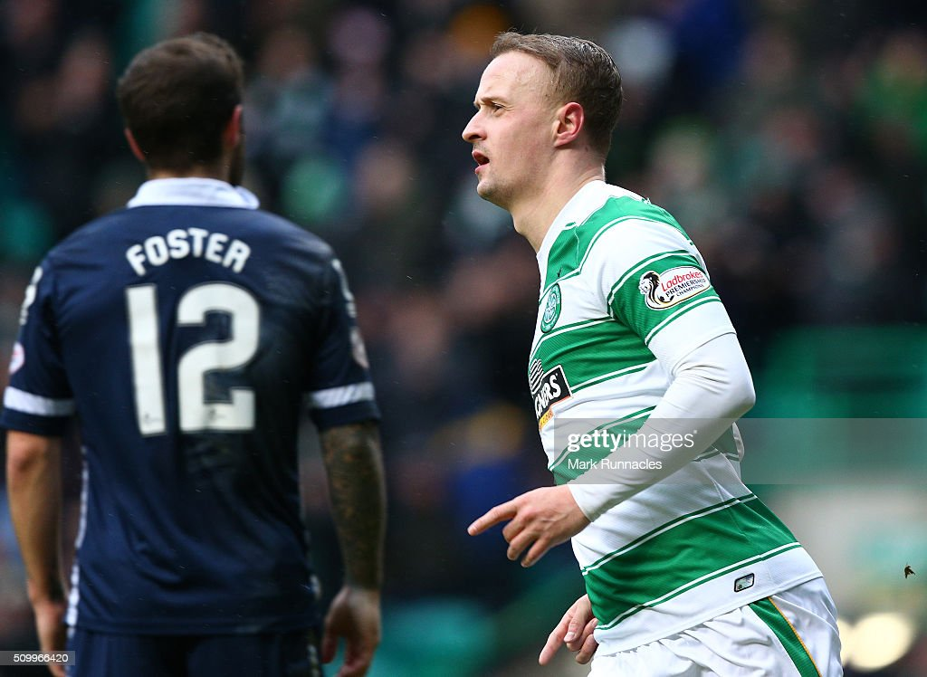 Leigh Griffiths of Celtic celebrates after scoring at the end of the first half during the Ladbrokes Scottish Premiership match between Celtic and Ross County at Celtic Park Stadium on February 13, 2016 in Motherwell, Scotland.