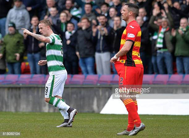 Leigh Griffiths of Celtic celebrates scores a goal late in the first half during the Ladbrokes Scottish Premiership match between Patrick Thistle FC...