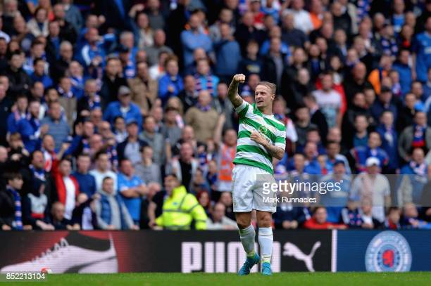 Leigh Griffiths of Celtic celebrates scoring his sides second goal during the Ladbrokes Scottish Premiership match between Rangers and Celtic at...