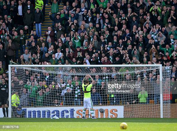 Leigh Griffiths of Celtic celebrates scoring the opening goal of the game during the Ladbrokes Scottish Premiership match between Celtic FC and...