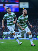 Leigh Griffiths of Celtic celebrates scoring the opening goal with Anthony Stokes of Celtic during the Scottish League Cup SemiFinal between Celtic...