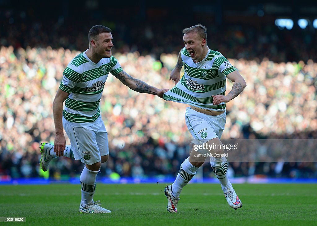 Leigh Griffiths of Celtic celebrates scoring the opening goal with Anthony Stokes of Celtic during the Scottish League Cup Semi-Final between Celtic and Rangers at Hampden Park on February 1, 2015 in Glasgow, Scotland.