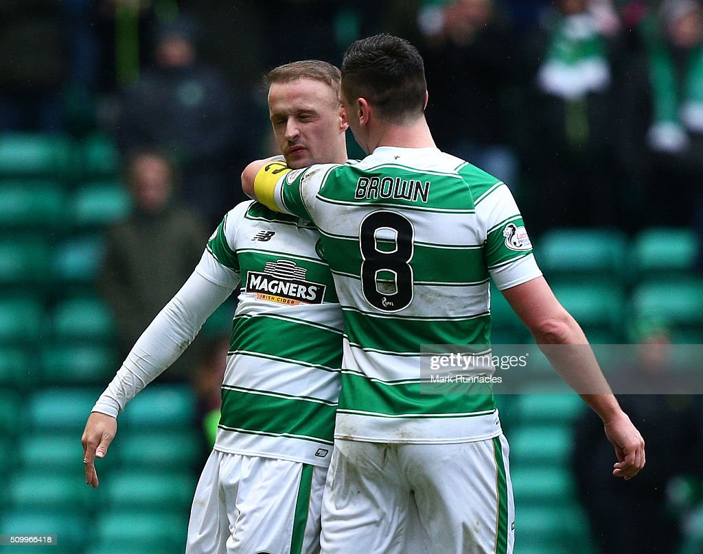 Leigh Griffiths of Celtic celebrates with club captain Scott Brown after scoring at the end of the first half during the Ladbrokes Scottish Premiership match between Celtic and Ross County at Celtic Park Stadium on February 13, 2016 in Motherwell, Scotland.