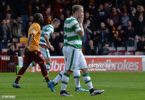 Leigh Griffiths of Celtic reacts after missing a penalty late in the first half during the Ladbrokes Scottish Premiership match between Celtic FC and...