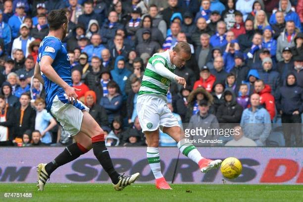 Leigh Griffiths of Celtic scores their second goal during the Ladbrokes Scottish Premiership match between Rangers and Celtic at Ibrox Stadium on...