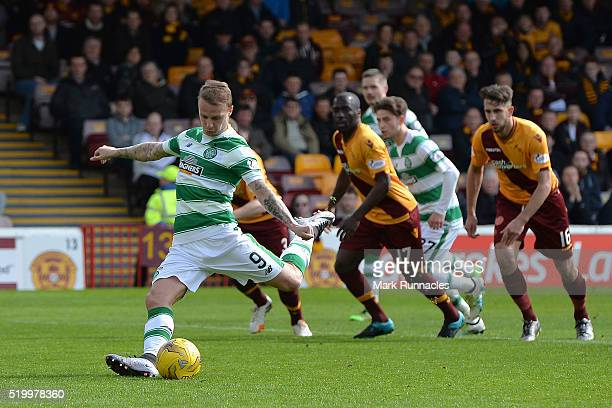 Leigh Griffiths of Celtic takes a penalty late in the first half during the Ladbrokes Scottish Premiership match between Celtic FC and Motherwell FC...