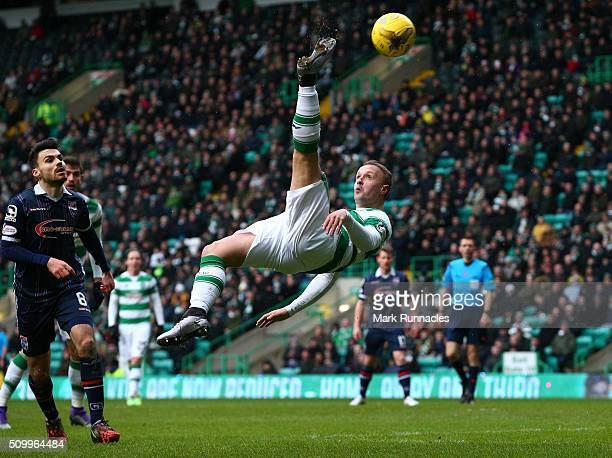 Leigh Griffiths of Celtic tries an overhead kick during the Ladbrokes Scottish Premiership match between Celtic and Ross County at Celtic Park...