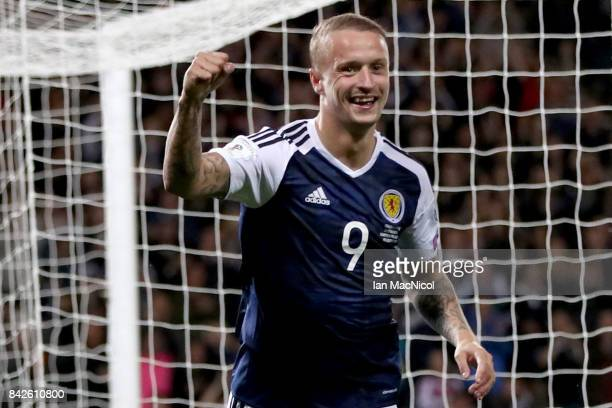 Leigh Griffiths of Scotland celebrates as he scores their second goal during the FIFA 2018 World Cup Qualifier between Scotland and Malta at Hampden...