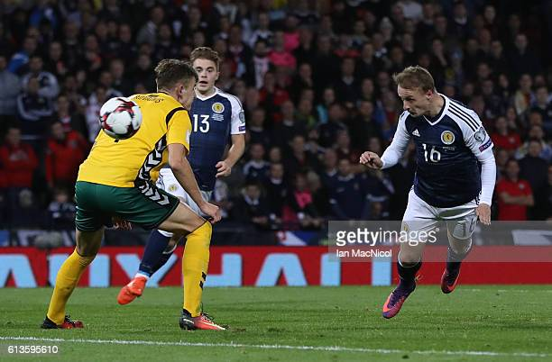 Leigh Griffiths of Scotland heads at goal during the FIFA 2018 World Cup Qualifier between Scotland and Lithuania at Hampden Park on October 8 2016...